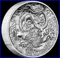 NEW! 2021 DRAGON CHINESE MYTHS & LEGENDS 2 OZ. 999 SILVER HI RELIEF PROOF coin