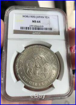 NGC MS64 Japan Emperor 38th Year of Meiji M36 1905 Dragon Silver Coin 1 Yen