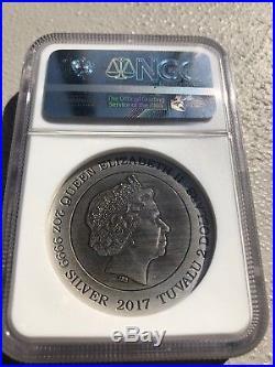 NGC MS70 2017 Tuvalu Dragon 2 oz Antique 999 Silver coin Rare #57 of 1000