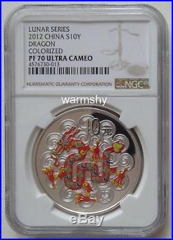 NGC PF70 China 2012 Lunar Zodiac Dragon Year Colorized Silver Coin 1 oz 10 Yuan