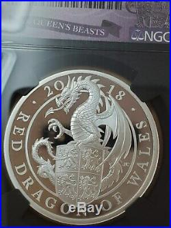 NGC PF70 Great Britain UK 2018 Queen's Beasts Dragon of Wales Silver Coin 1oz