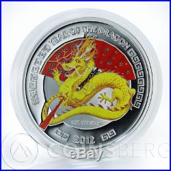 Niue 2 dollars Lunar Year of the Dragon yellow Dragon silver 1oz coin 2012