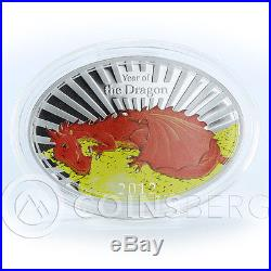 Niue 2 dollars Year of Chinese red Dragon Fortune oval silver 1 oz coin 2012
