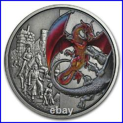 Niue 2019 2 OZ Silver Proof Coin- Dragons The Red Dragons