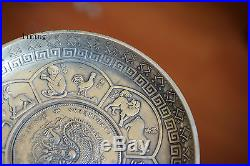 Old Chinese Vintage Bronze Zodiac Plate Silver Dragon Coin Statue Antique