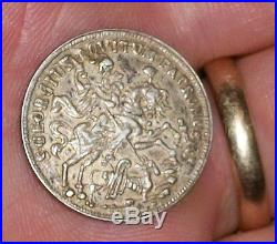 Old Silver Coin Hungary Showtaler St Saint George Dragon Tempestate Securitas