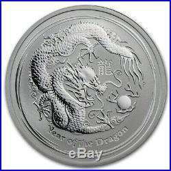 One Hundred (100) 2012 Australia 1/2 oz Silver Year of the Dragon BU Series II