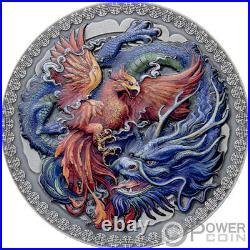 PHOENIX AND DRAGON Silver Coin 10 Cedis Ghana 2021