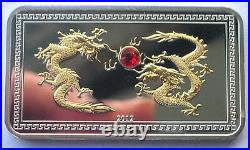 Palau 2012 Year of Dragon 5 Dollars Gold Plated Silver Coin, Proof