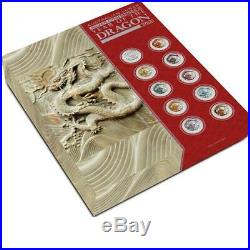 Perth Mint 2012 AUSTRALIA Year of the Dragon Colorized Silver 10 ten Coins Set