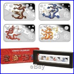 Perth Mint 2012 Year of DRAGON 4 x 1oz Coin Rectangle Color Silver Proof Set