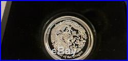 Perth Mint Australia $1 2012 Dragon 1oz. 999 High Relief Proof Silver Coin withcoa