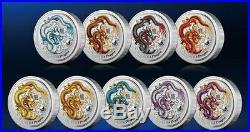 Perth Mint Australia $1 LS2 Colored Dragon 2012 1 oz. 999 Silver Coin (Set of 9)