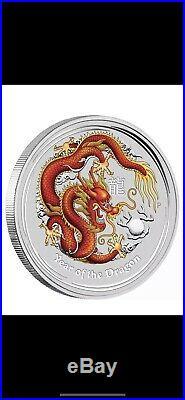Perth Mint Australia Red Ruby Gemstone Dragon 2012 1 kg kilo. 999 Silver Coin