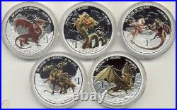 Perth Mint Dragons Of Legend- Complete 5 Coin Set. 999 Silver Proof 5 oz. AG Lot