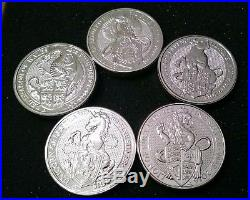 QUEEN'S BEAST 5 Coin SET Lion Griffin Dragon Unicorn Bull BU WithCAPSULES