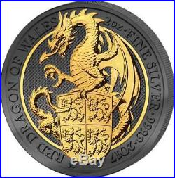 QUEEN'S BEASTS DRAGON 2017 2 oz Silver Coin GOLDEN ENIGMA Ruthenium 24K GOLD