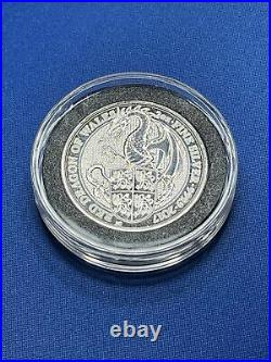Queen's Beast 2017 Red Dragon of Wales 2 oz. 999 Fine Silver with Capsule