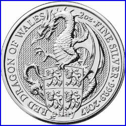 Queen's Beast 2017 Red Dragon of Wales (BU) 2oz. 999 Fine Silver Capsule Coin