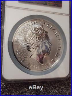 Queen's Beasts 2018 10oz S Great Britain 10GBP Red Dragon of Wales MS68