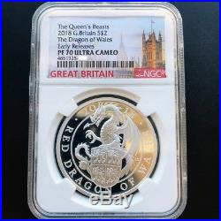 Queen's Beasts 2018 G. Britain £2 Dragon Of Wales Silver Proof Coin NGC PF 70 ER