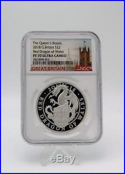 Queen's Beasts 2018 G. Britain £2 Dragon Of Wales Silver Proof Coin NGC PF 70 UC