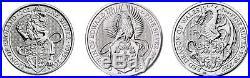 Queen's beasts bullion lion griffin dragon 1 tube each 30 coins 60 oz silver BU