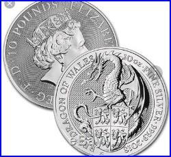 Queens Beast DRAGON. 9999 silver. In capsule. 10oz. BULLION COIN