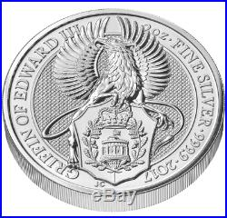 Queens Beasts 2 oz Silver coin Lion Griffin Dragon Unicorn Bull Yale Falcon set