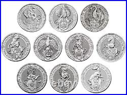 Queens Beasts 2oz Silver 999 coins Lion Dragon Yale Falcon Horse Greyhound coins