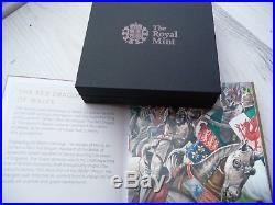 Queens Beasts Red Dragon Of Wales 1oz Silver Proof £2 Coin Brand New with COA