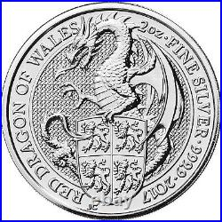 Queens Beasts Red Dragon Of Wales 2 oz fine silver coin 2017 Rare