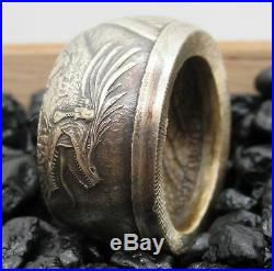 Quetzalcóatl Legendary Aztec Dragon coin ring from Silver coin. Can be engraved