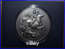 RARE 2003 Annual History Pure Silver Antique Proof St. George & Dragon 5oz Coin