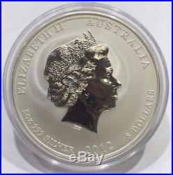 RARE 2012 Australia Perth Gilded Lunar Dragon. 999 Silver 5 Oz $8 Bullion Coin