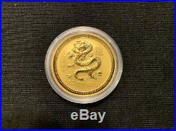 Rare 2000 Australian Lunar Dragon $100 1 oz. 999 Bullion Gold coin Perth Mint