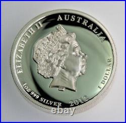Rare 2012.999 silver 1 oz High Relief Dragon Proof Perth Mint Australia COA OGP