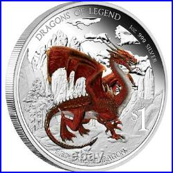 Rare 2012 Dragons of Legend Red Welsh Dragon 1oz Silver Proof Coin COA 2012