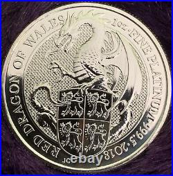 Red Dragon Of Wales Platinum 1 Oz Coin 2018 999.5
