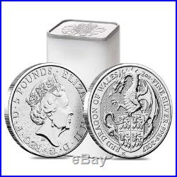 Roll of 10 2017 Great Britain 2 oz Silver Queen's Beast (Red Dragon) Coin