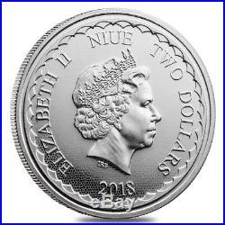 Roll of 20 2018 1 oz Niue Silver $2 Double Dragon BU (Tube, Lot of 20)