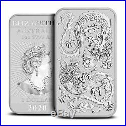 Roll of 20 2020 Australia Dragon Rectangular 1oz Silver $1 BU