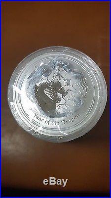 Roll of 20 x Perth Mint 2012 Lunar Dragon 1 OZ silver coins, original wrapping