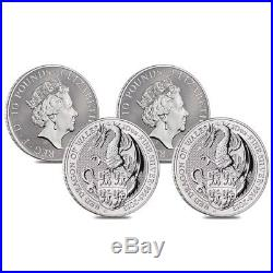 Roll of 4 2018 Great Britain 10 oz Silver Queen's Beast (Red Dragon) Coin BU