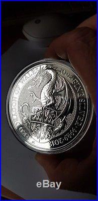 Royal Mint Queens Beast Dragon. 9999 silver. In capsule. 10oz