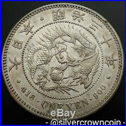 SCC Japan Yen 1897 Yr. 30. Y#A25.3. Silver Crown Dollar coin. Dragon. Mutsuhito