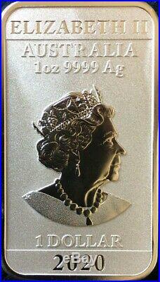 SEALED! 100 2020 Dragon 1oz. 9999 Silver Bullion Rectangular Coin Perth Mint