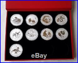 SET 9 x 2 Oz Box LUNAR Silber Münzen 20010 2018 Dragon silver coin