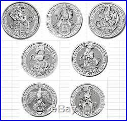 Set 7 BU Queens Beast Silver Lion-Griffin-Dragon-Unicorn-Bull-Falcon-Yale Caps