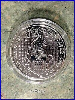 Set 8 BU Queens Beast Silver 2 Lion-Griffin-Dragon-Unicorn-Bull-Falcon-Yale Caps